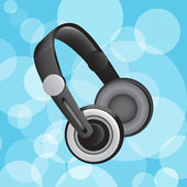 Headphones on blue circular glowing background