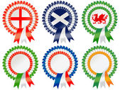 Rosettes to represent the Rugby Six Nations competition involving six European sides: England France Ireland Italy Scotland and Wales