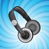Headphones on blue swirl background