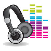 Headphones with shadow and colour abstract background