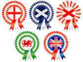 Rosettes to represent possible super powers of current time including USA Brazil Republic of China India Russian Federation and European Union