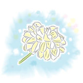 Single ponpon dahlia flower in watercolor style on pastel blue background with paint splats sorrounding