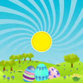 A morning landscape with three easter eggs at front of scene nestled behind green rolling hills Daffodil flowers and blue bell flowers in foreground with trees in the background with bright sun and blue rays in the sky