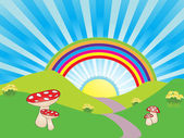 Funky landscape with bright rainbow shinning sun blue sunburst sky red and white mushrooms daffodils and rolling hills