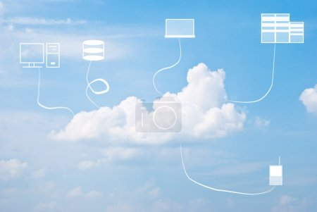 Photo for Multiple devices and cloud computing concept against the blue sky - Royalty Free Image