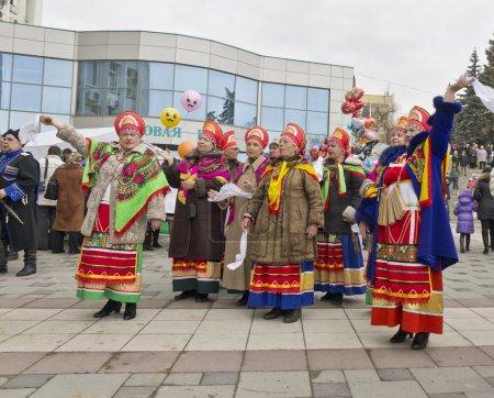 Photo pour L'ensemble folklorique. Voir l'hiver à Pyatigorsk . - image libre de droit