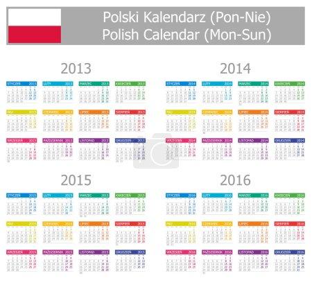 2013-2016 Type-1 Polish Calendar Mon-Sun
