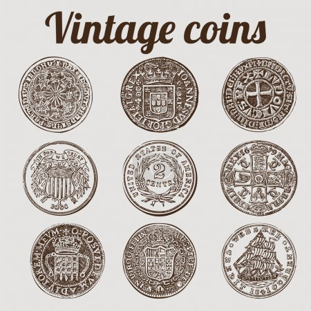 Silver coins collection / vintage illustration