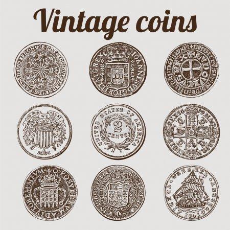 Illustration pour Collection de pièces d'argent / illustration vectorielle vintage - image libre de droit