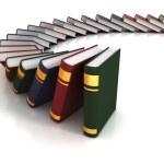Books falling like dominoes 3d concept...