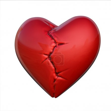 Photo for 3d isolated illustration of broken heart - Royalty Free Image