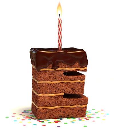 Photo pour Lettre E gâteau d'anniversaire en forme de chocolat avec bougie allumée et confettis isolés sur fond blanc illustration 3d - image libre de droit