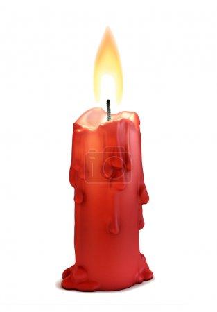 Photo pour Illustration 3D de bougie allumée isolée sur blanc - image libre de droit
