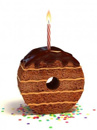 Number zero shaped chocolate birthday cake