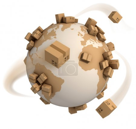 Photo for Cardboard boxes around the world - global shipment 3d concept - Royalty Free Image