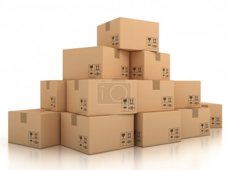 Photo for 3d isolated illustration of cardboard boxes - Royalty Free Image