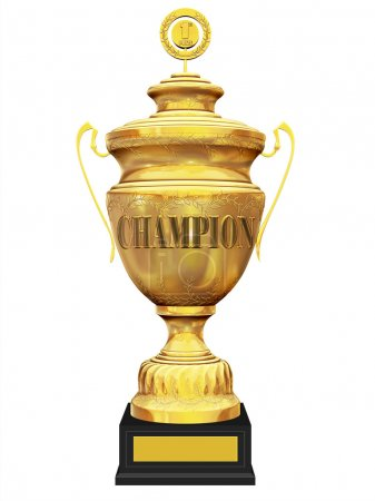 Champion golden trophy on white background