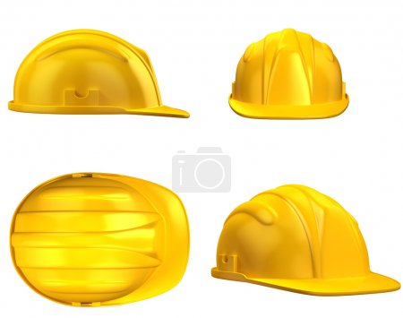 Photo for 3d illustration of construction helmet from different views - Royalty Free Image