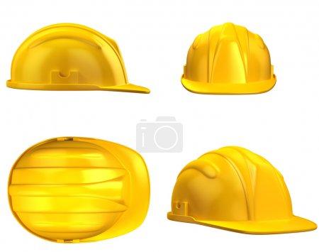 Photo pour Illustration 3D du casque de construction de différents points de vue - image libre de droit