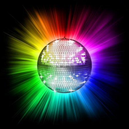 Photo pour Illustration 3d boule disco coloré - image libre de droit