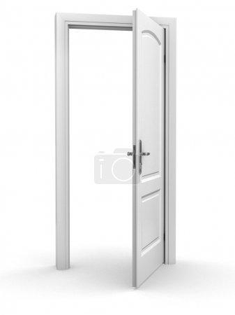 Photo pour 3D illustration isolée de porte ouverte sur fond blanc - image libre de droit