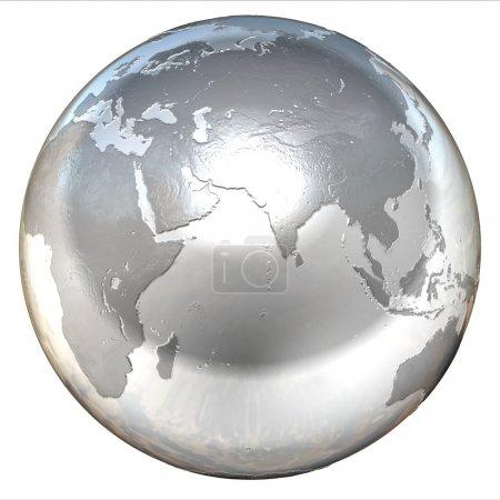 Foto de 3D ilustración aislada de globo de plata - Imagen libre de derechos