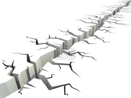 Photo pour Illustration 3D de fissure au sol - image libre de droit