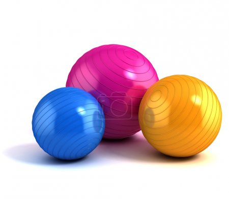 Photo for 3d illustration of colorful fitness balls isolated on white - Royalty Free Image