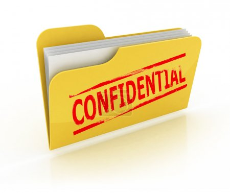Photo pour Illustration isolée 3d de l'icône du dossier confidentiel sur le fond blanc - image libre de droit