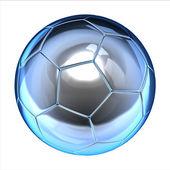 Lesklé fotbal (fotbalový míč) na bílém pozadí