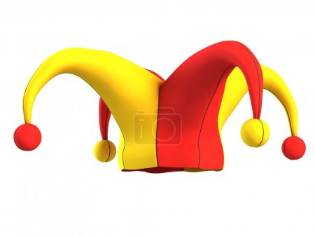 Jester hat isolated on white 3d isolated illustrat...