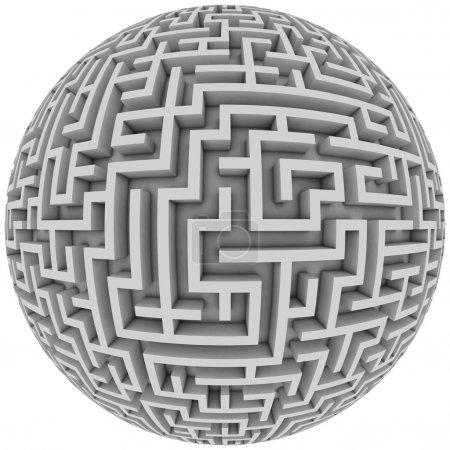Photo pour Labyrinthe planète labyrinthe sans fin labyrinthe avec forme sphérique illustration 3D - image libre de droit