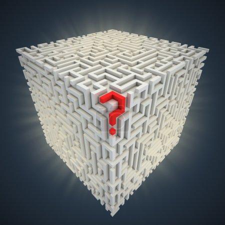 Fragezeichen im Kubus-Labyrinth