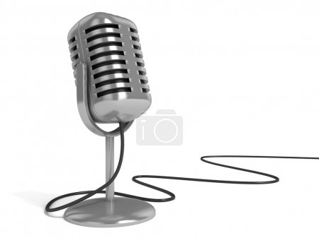 "Radio microphone with ""on the air"" sign on top isolated over white background"