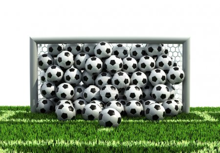 Photo for Goal full of soccer balls on the football field 3d illustration - Royalty Free Image