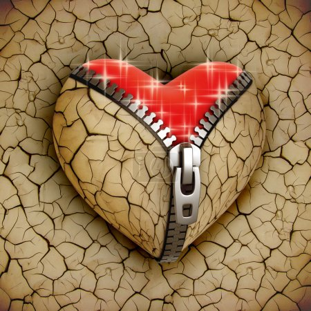 Photo for New love 3d concept - new shiny heart under broken one illustration - Royalty Free Image