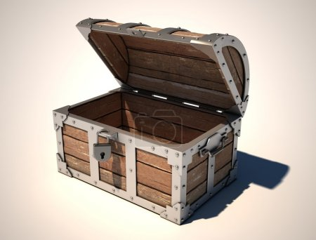 Photo for Empty treasure chest 3d illustration - Royalty Free Image