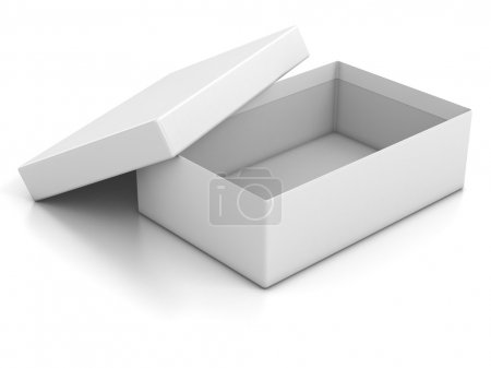 Photo for White blank open box isolated over white background 3d illustration - Royalty Free Image