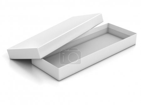Photo for White blank shallow open box isolated over white background 3d illustration - Royalty Free Image