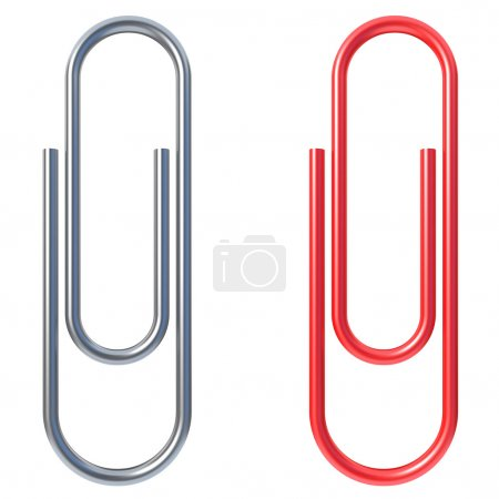 Paper clip isolated over white background 3d illus...