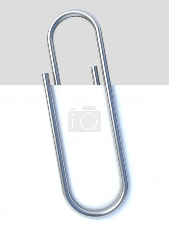 Close up of paper clip holding a blank paper sheet...