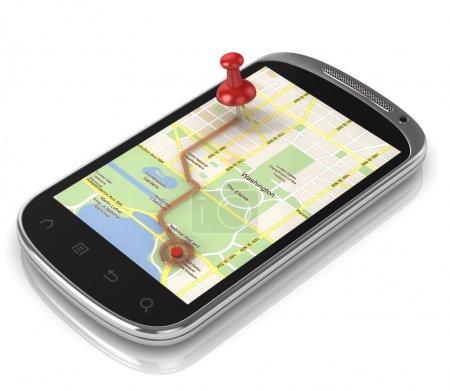 Photo pour Navigation par téléphone intelligent - concept mobile gps 3d - image libre de droit