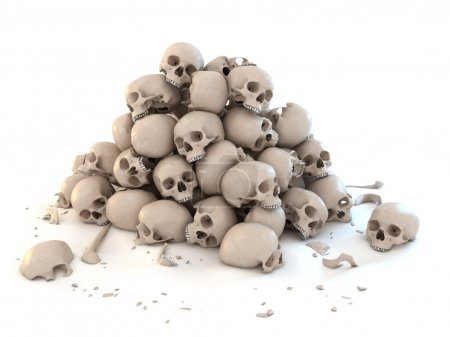 Photo for Pile of skulls isolated over white 3d illustration - Royalty Free Image