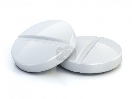 Photo pour Deux pilules médicales - comprimés illustration 3d isolé sur le blanc - image libre de droit