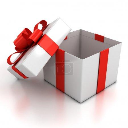 Photo pour Boîte cadeau ouverte sur fond blanc Illustration 3d - image libre de droit