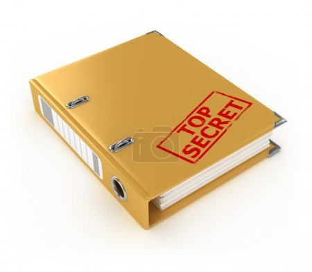 Yellow ring binder with top secret stamp isolated on the white background