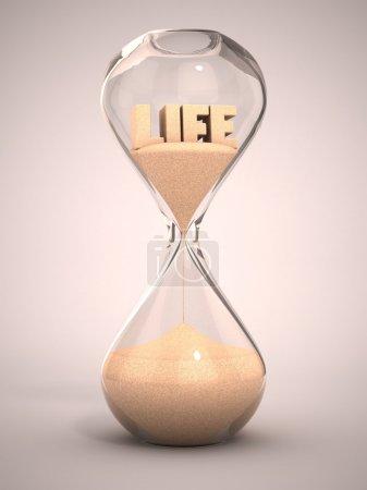 Photo pour Concept de passage du temps de vie - sablier, sablier, minuterie, horloge de sable Illustration 3D - image libre de droit