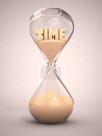 Photo pour Sablier, sablier, sable minuterie, sable horloge 3d illustration - image libre de droit