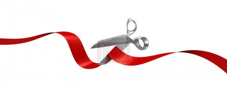 Scissors cutting red ribbon 3d illustration...