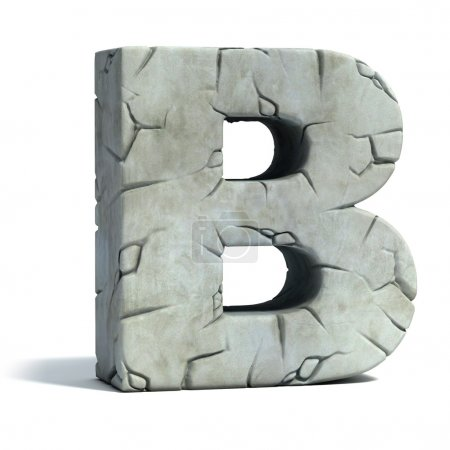 Letter B cracked stone 3d fuente